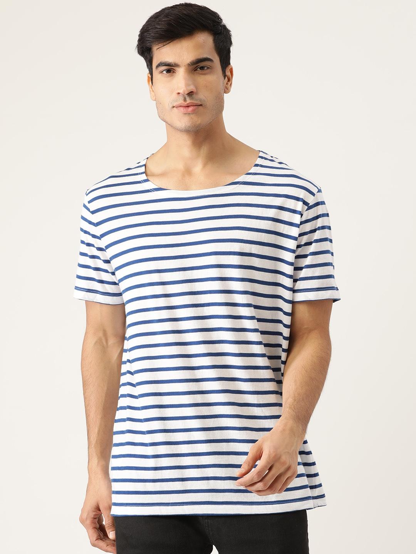 MANGO MAN Men White   Blue Striped Round Neck T shirt
