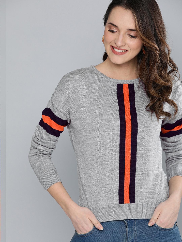 Mast   Harbour Women Grey Melange Self Design Pullover Sweater