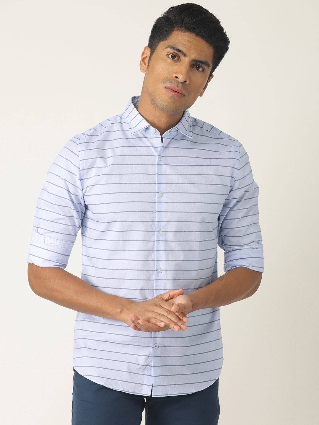 United Colors of Benetton Men Blue   Grey Striped Casual Shirt