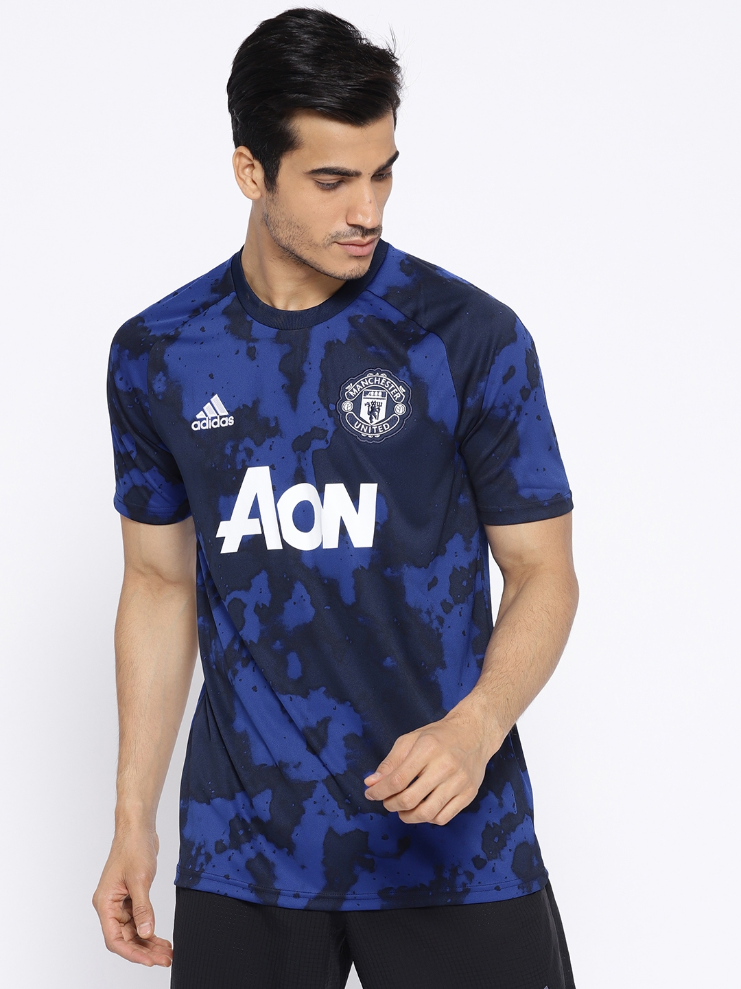 693d4ffad9e ADIDAS Men Blue Manchester United F.C. Home Printed Pre-Match Football  Jersey
