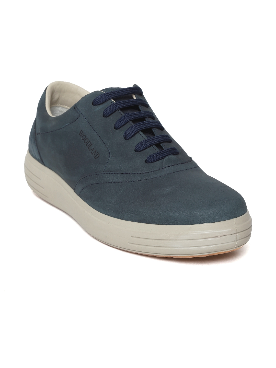 Woodland Men Navy Blue Leather Sneakers