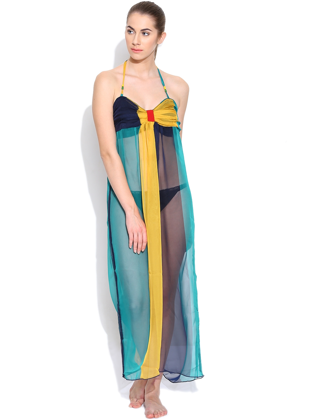 8a749822cf Buy Clt.s Multicoloured Sheer Maxi Cover Up Dress S6 - Swimwear for Women  974179 | Myntra