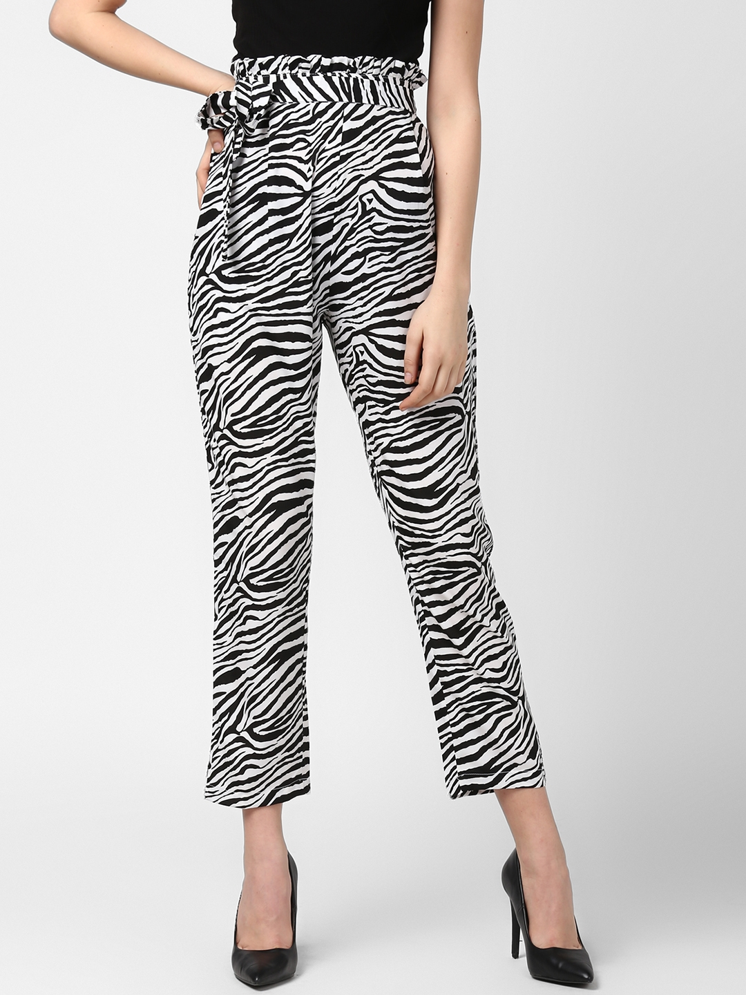 02c7e37e5804d StyleStone Women White & Black Tapered Fit Zebra Print Paperbag Style Peg  Trousers