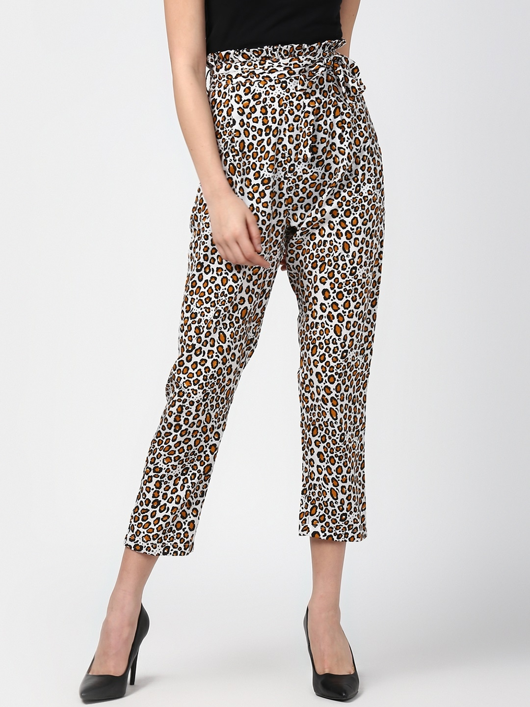 6ae34642dbcf7 StyleStone Women White & Yellow Tapered Fit Animal Print Paperbag Peg  Trousers