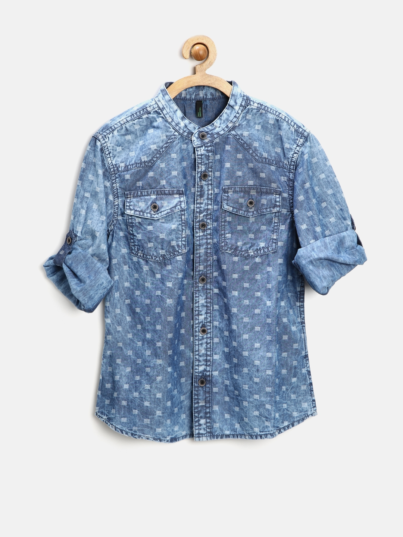 98b3a325c9a Buy United Colors Of Benetton Boys Blue Printed Denim Shirt - Shirts ...