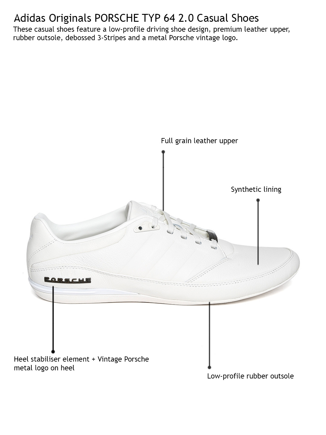 online store 6ad0d 2ca4f Buy ADIDAS Originals Men White Porsche TYP 64 2.0 Leather Casual ...