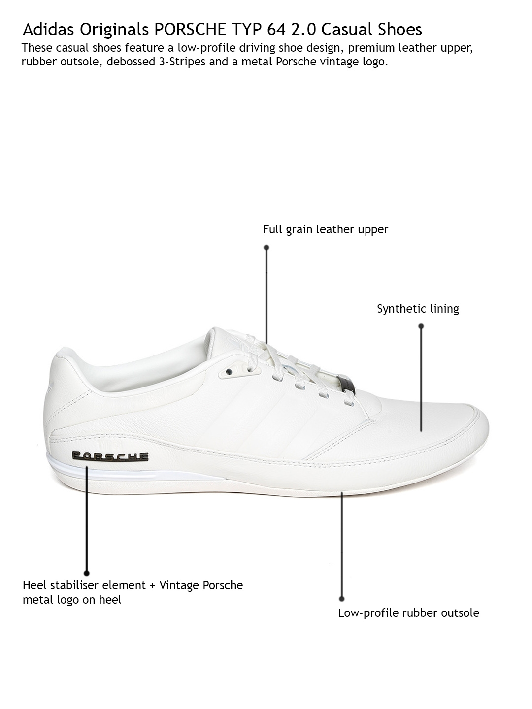 d8a6a739112b Buy ADIDAS Originals Men White Porsche TYP 64 2.0 Leather Casual ...