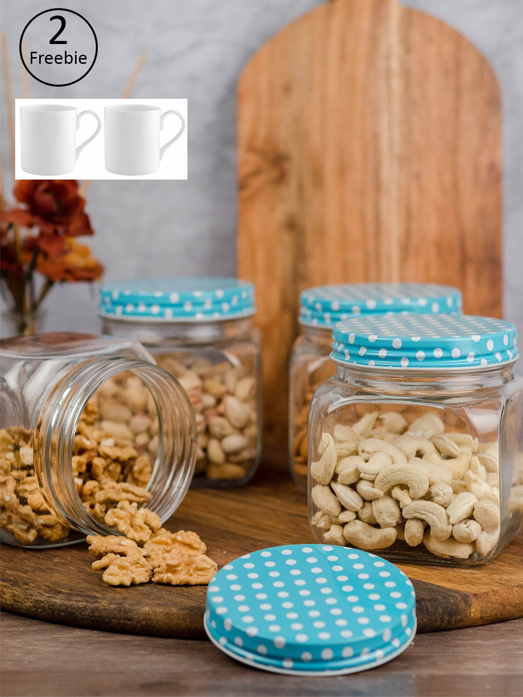 GOODHOMES Set of 4 Food Storage Glass Jars