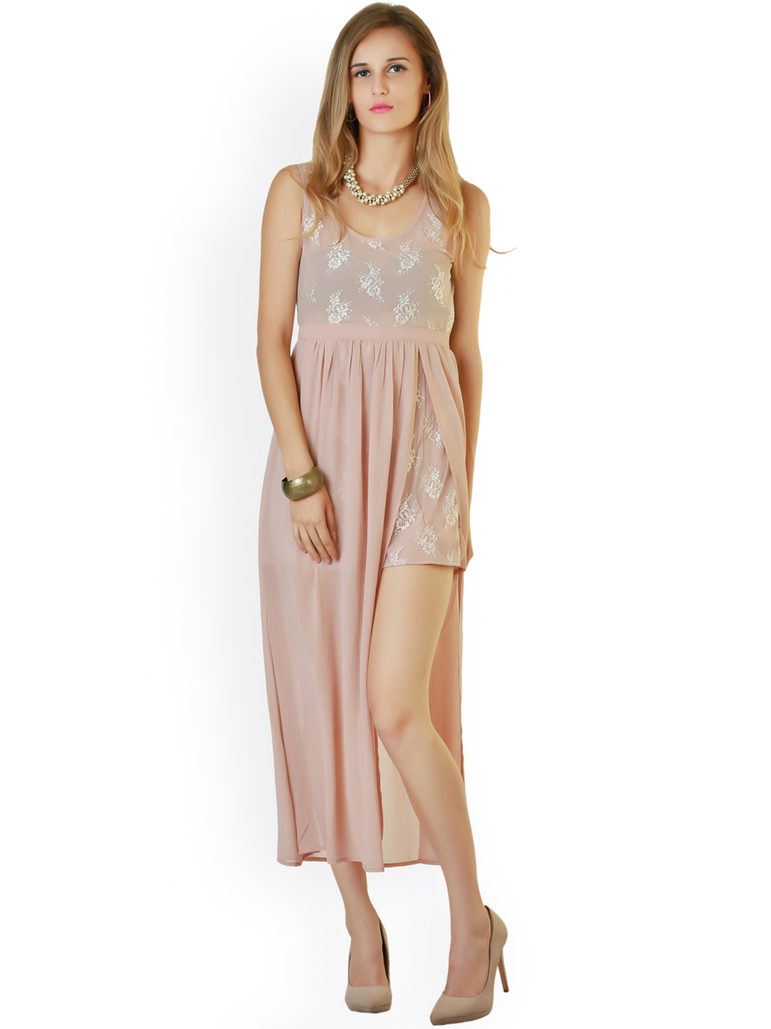 Belle Fille Peach Coloured Embroidered Maxi Dress