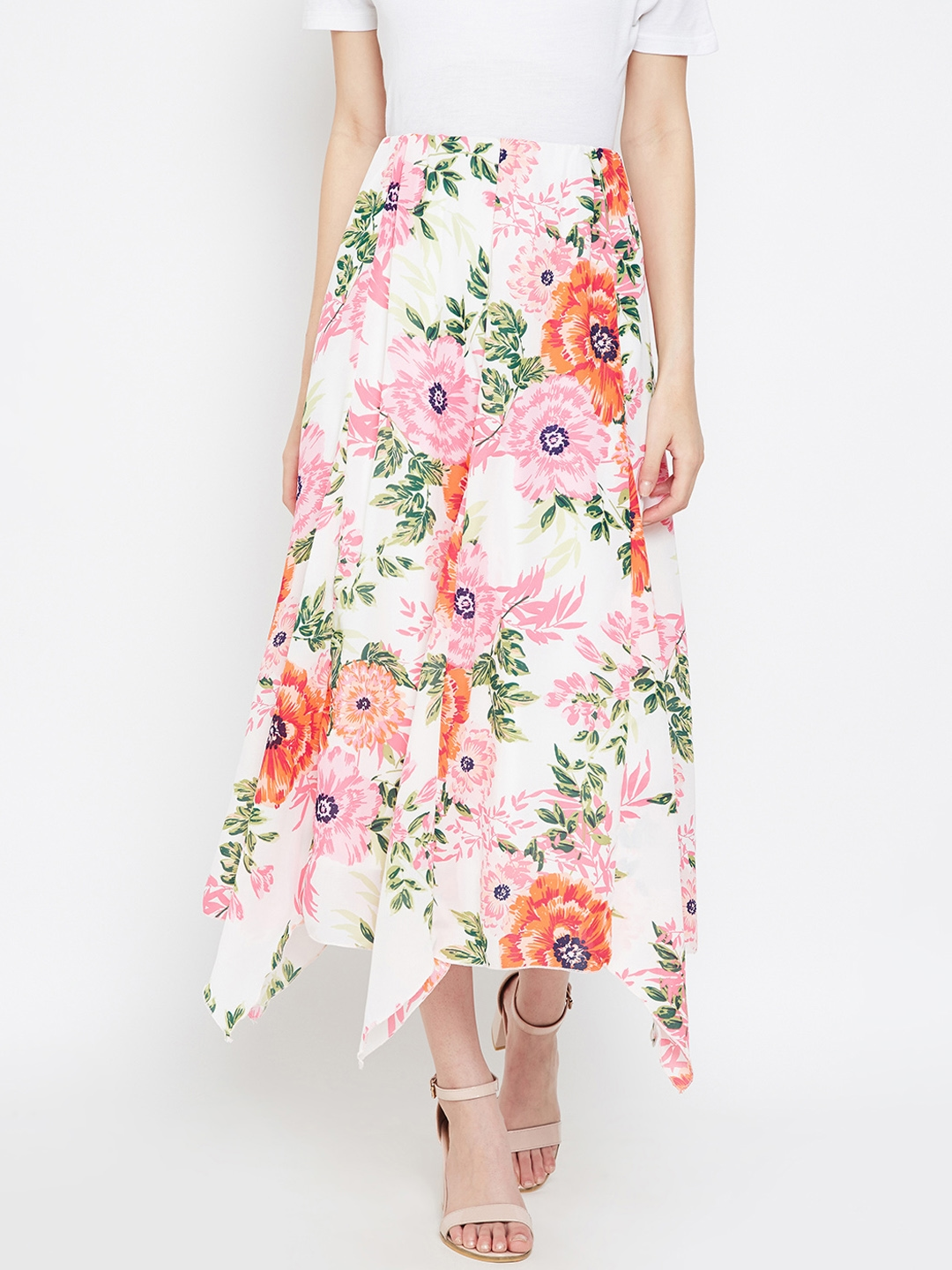 Oxolloxo Women White   Pink Floral Print A Line Skirt