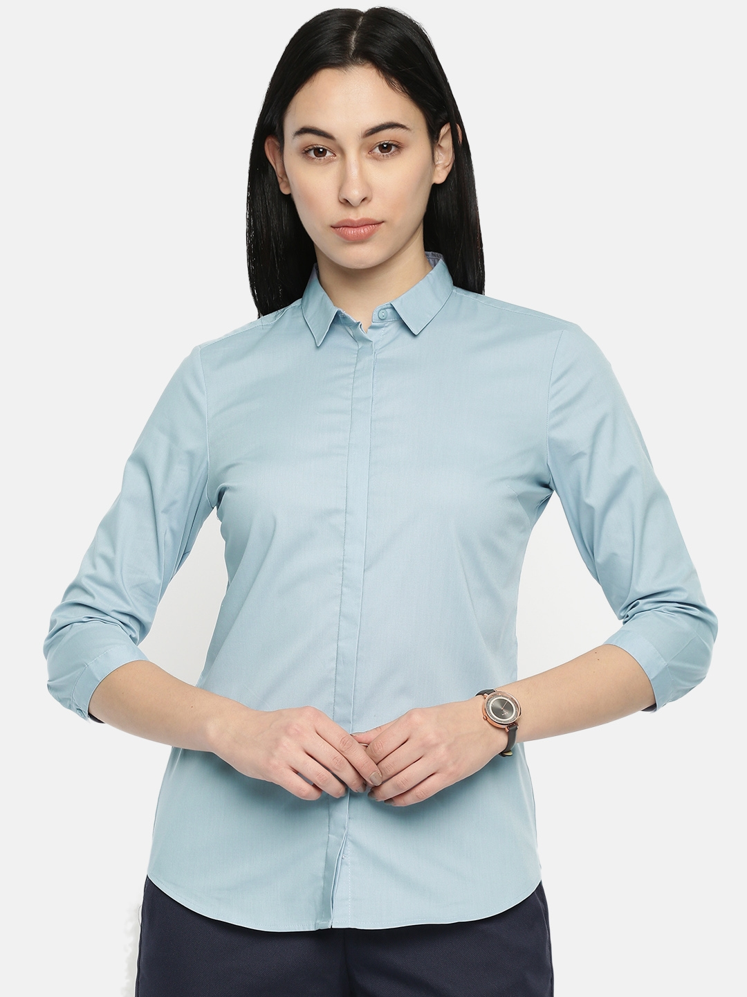 Van Heusen Woman Women Blue Regular Fit Solid Formal Shirt