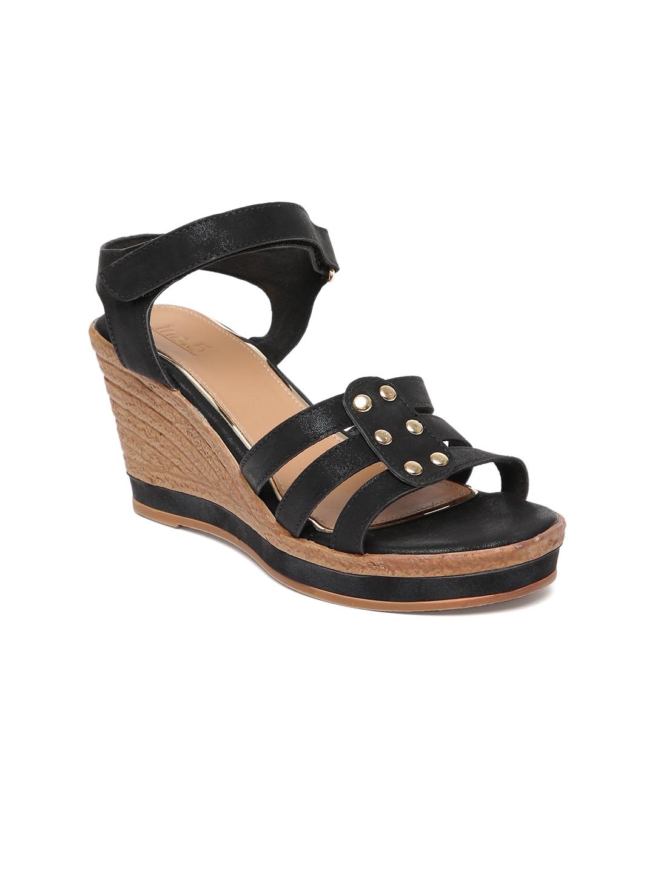 Inc 5 Women Black Solid Wedge Sandals