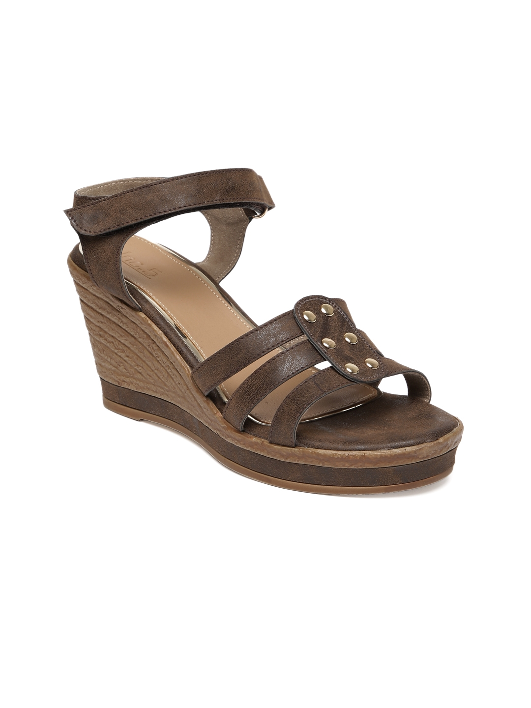 Inc 5 Women Brown Solid Wedge Sandals