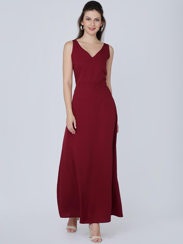 Eavan Women Maroon Solid Maxi Dress Eavan Dresses