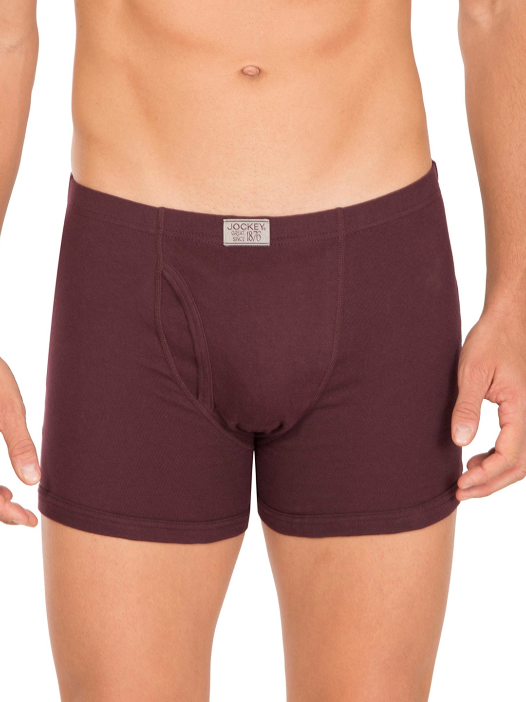 Jockey Men Burgundy Solid Trunks 8008 0105