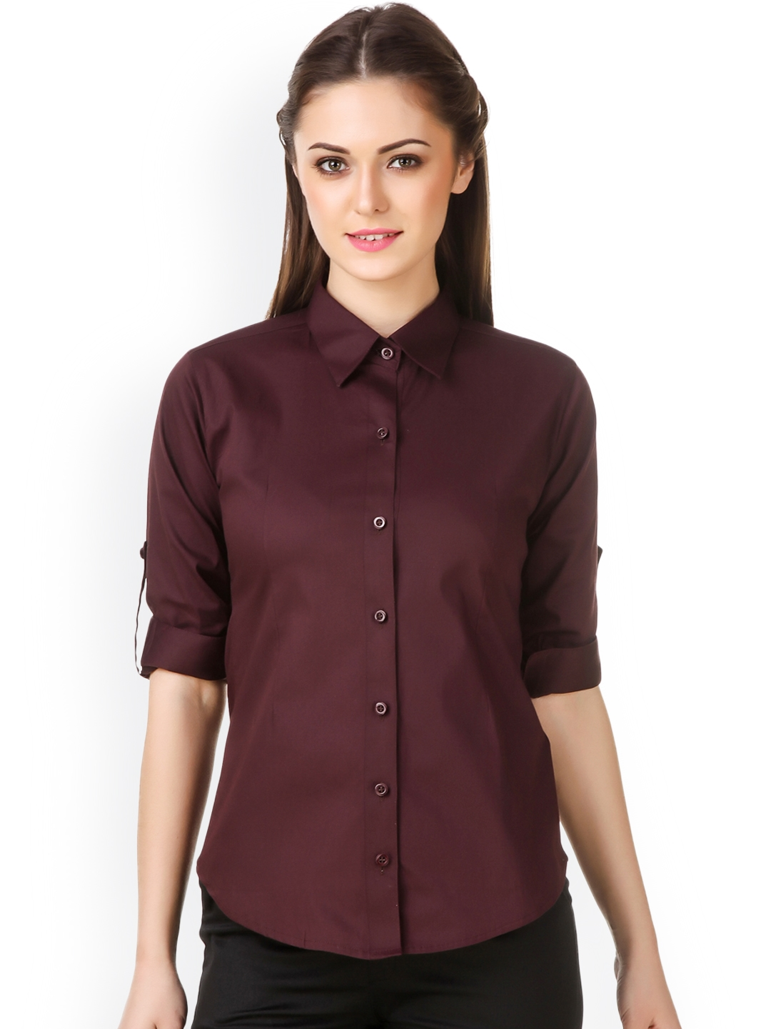 Purple Feather Women Burgundy Slim Fit Solid Formal Shirt Purple Feather Shirts
