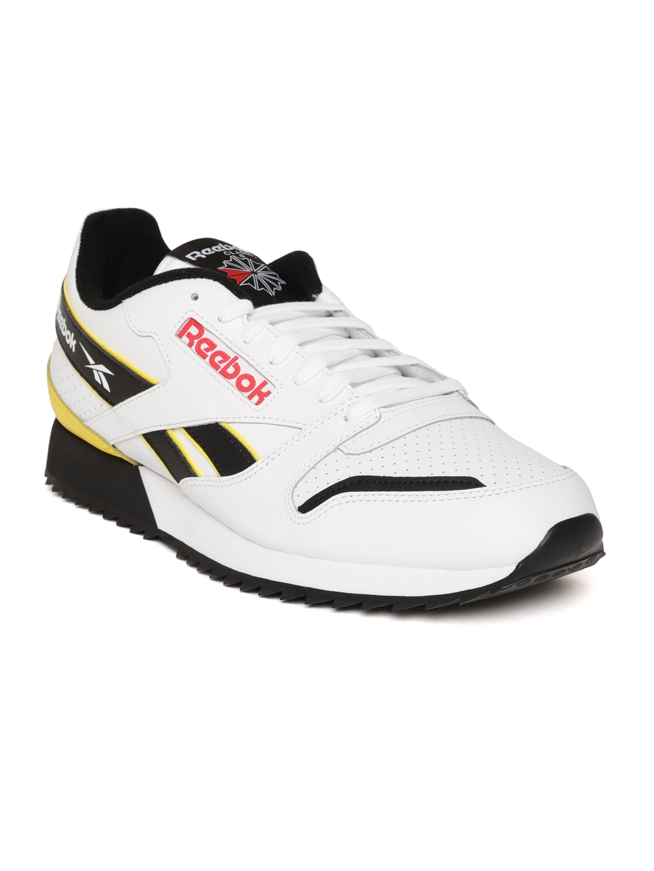 e7f69e153 Reebok Classic Unisex White & Black Classic Leather Perforated Ripple  Sneakers