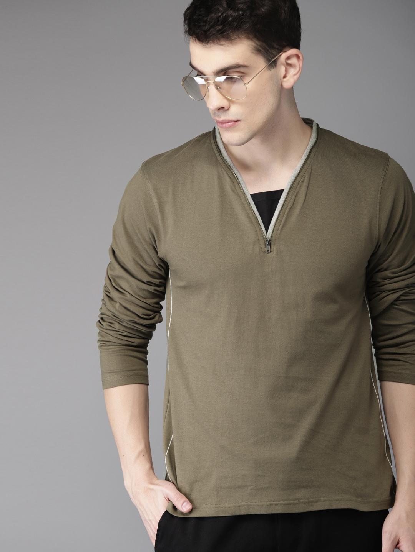 Moda Rapido Men Olive Green Solid V Neck T shirt