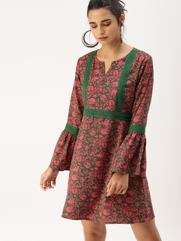 DressBerry Women Green   Pink A Line Dress