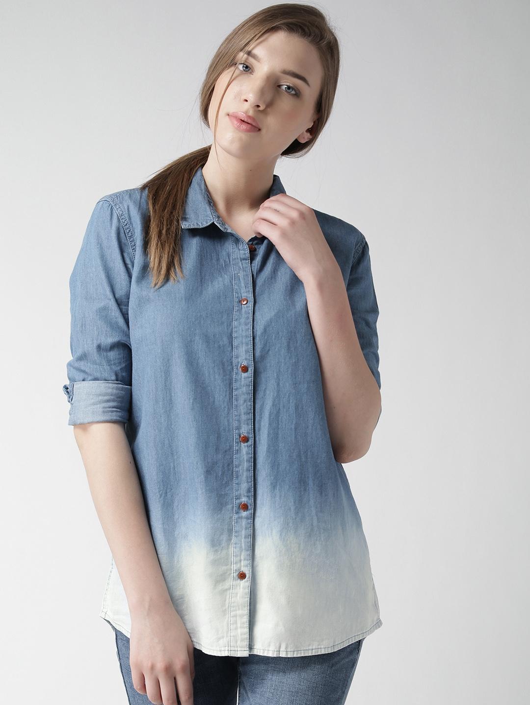 9ecfab7b Buy Tommy Hilfiger Blue Ombre Dyed Denim Shirt - Shirts for Women ...