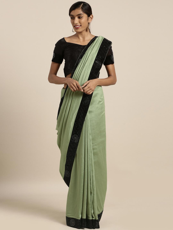 Mirchi Fashion Green   Black Silk Blend Solid Saree