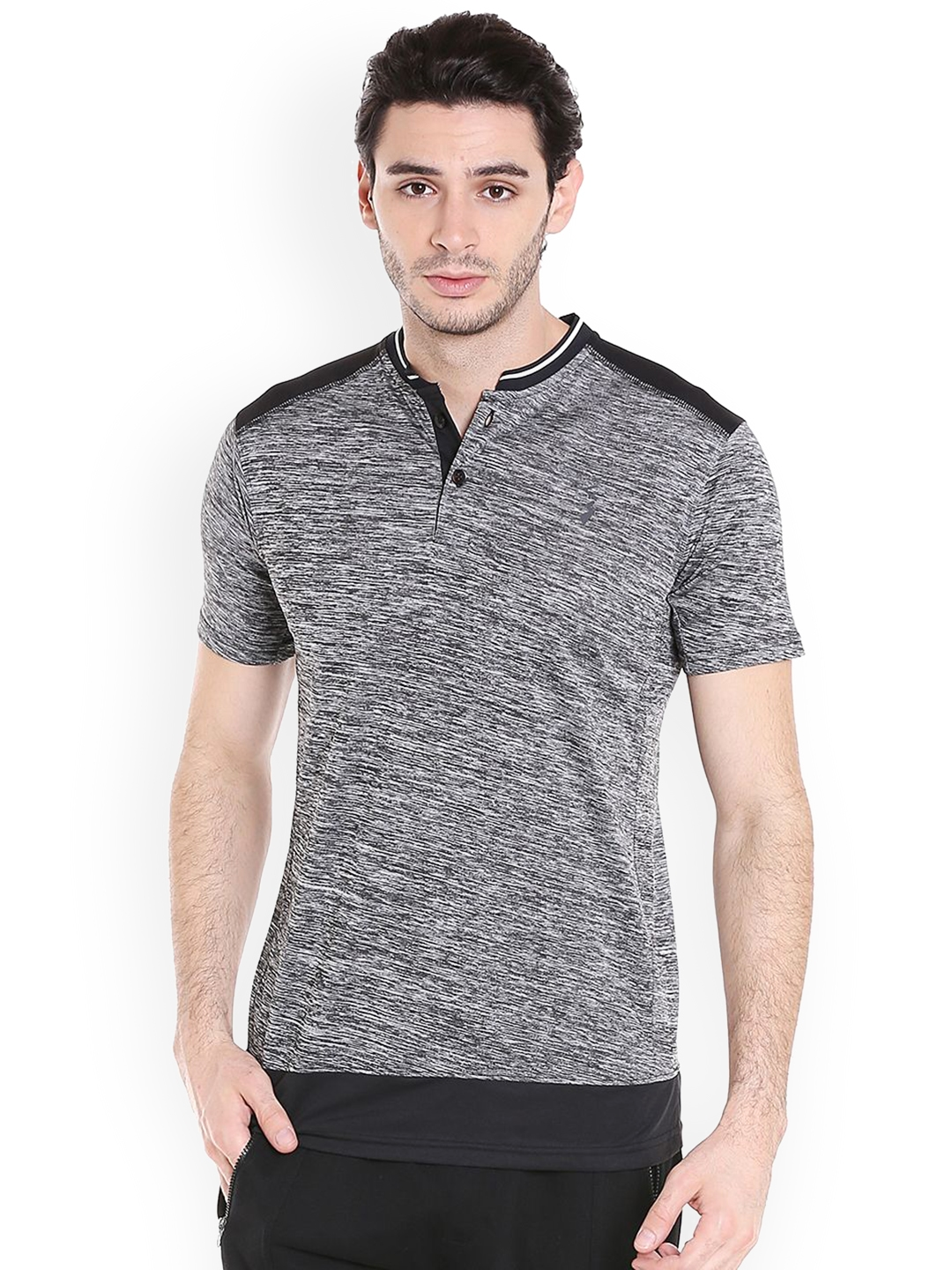 Campus Sutra Men Grey Melange Solid Mandarin Collar T shirt