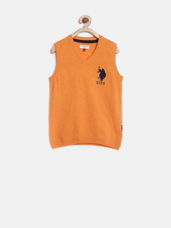 f4aabe209d64 Buy U.S. Polo Assn. Kids Boys Orange Sweater - Sweaters for Boys ...