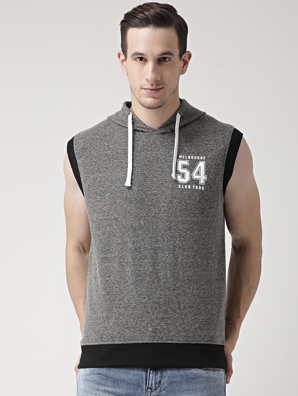 Club York Men Charcoal Grey Solid Hooded Sweatshirt
