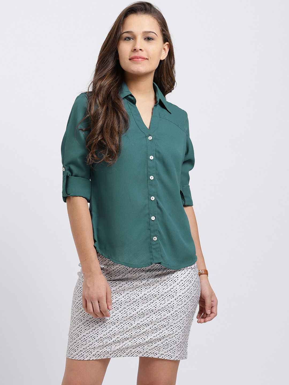 Trend Arrest Women Green Regular Fit Solid Casual Shirt Trend Arrest Shirts