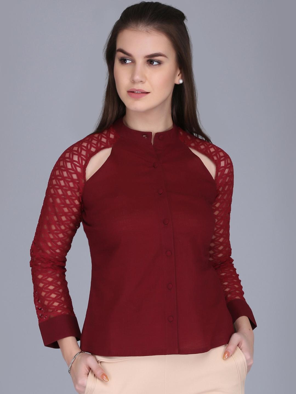 Eavan Women Maroon Solid Top