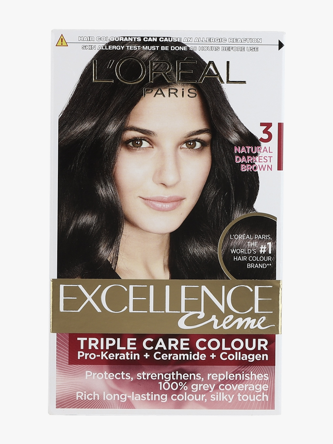 Buy L Oreal Paris Excellence Hair Color Shade No 3 Dark Brown Hair Colour For Unisex 7896175 Myntra