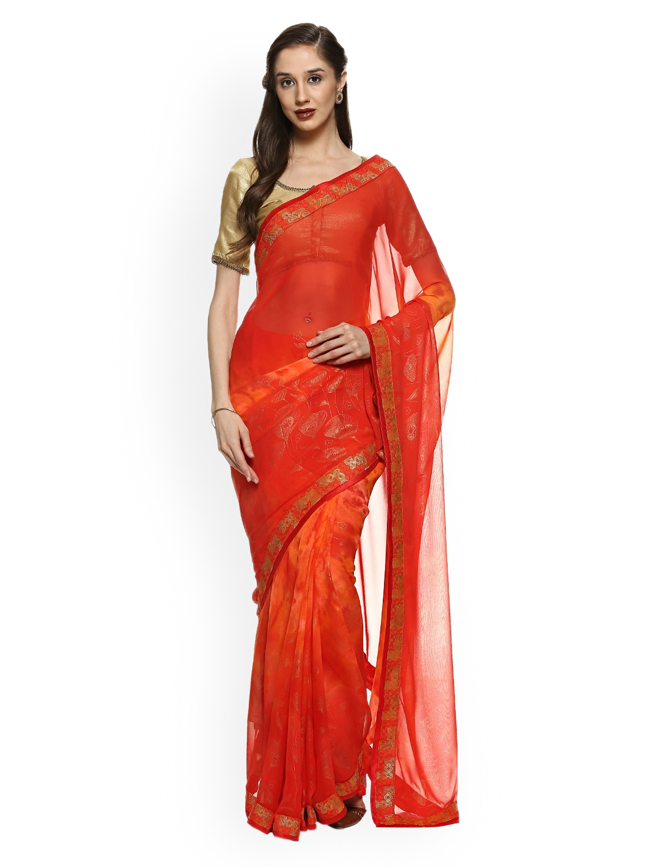10a37e25a6d03c Buy Soch Orange Printed Poly Georgette Saree - Sarees for Women ...