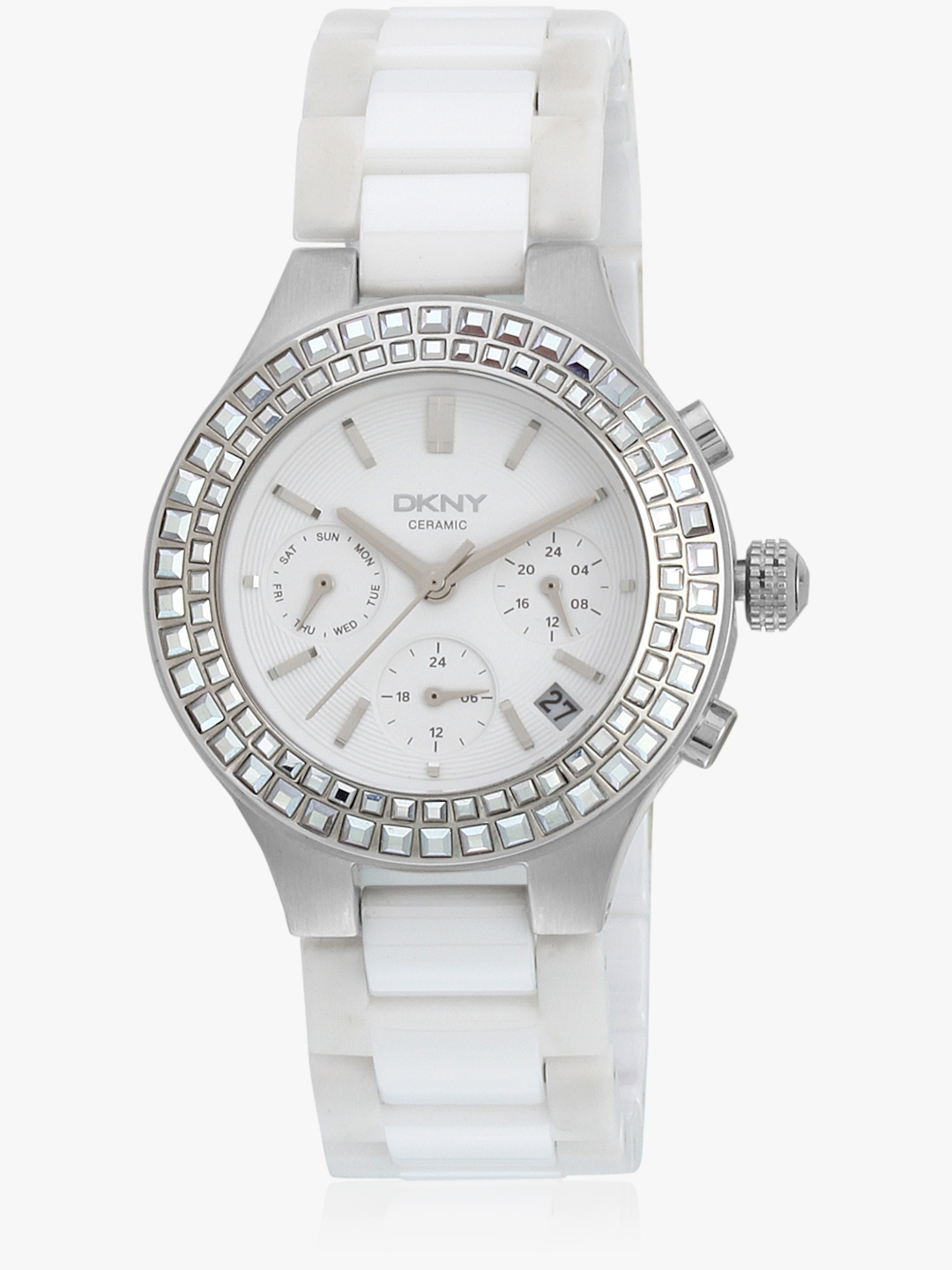 3d85505b4 Buy Dkny Chambers White/White Chronograph Watch - Watches for Women ...