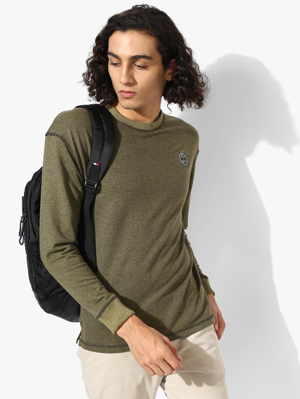 Olive Self Design Sweatshirt