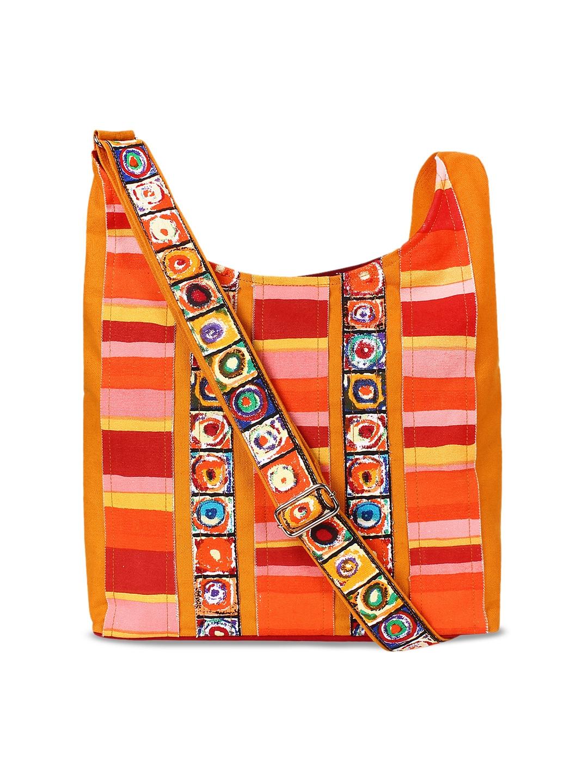 Anekaant Orange Striped Tote Bag Anekaant Handbags