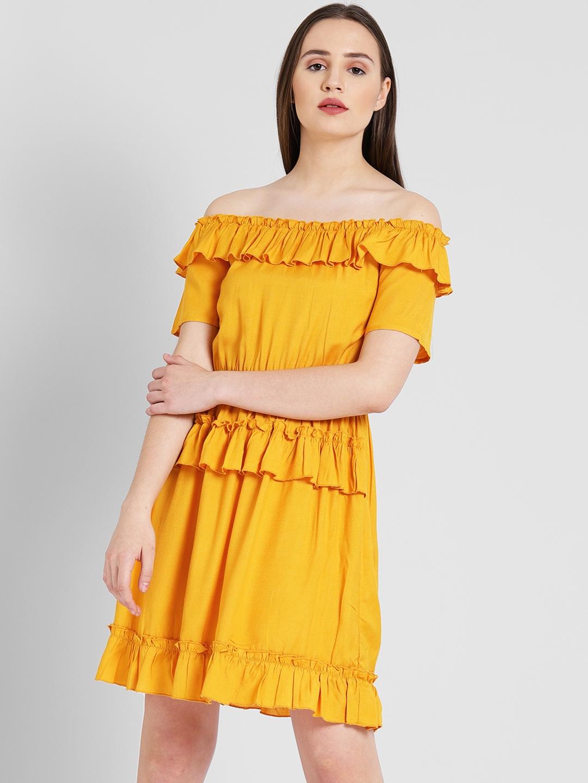3298f0e0bf0 Buy DODO   MOA Women Mustard Solid Blouson Dress - Dresses for Women ...