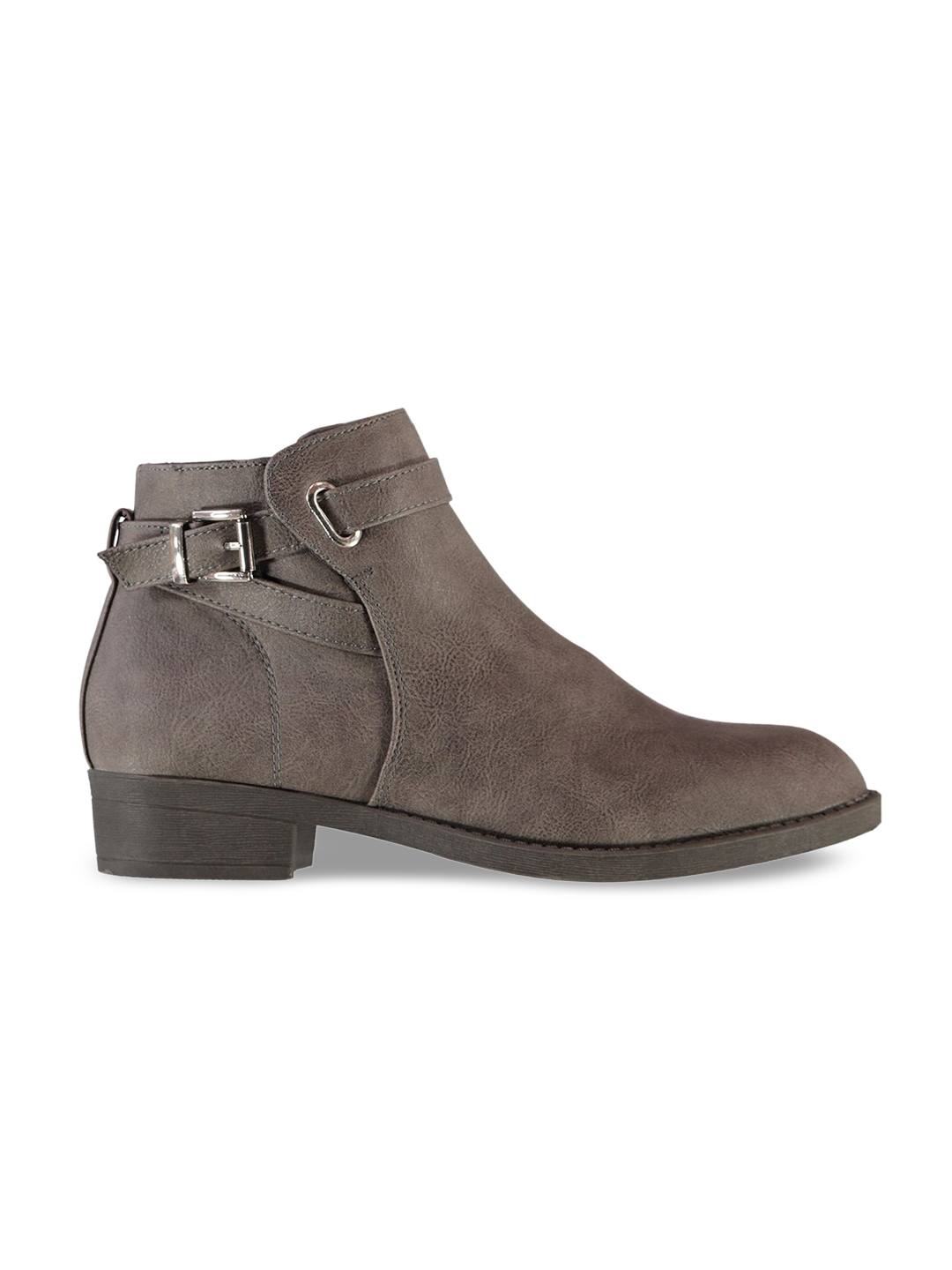 0c746dfc9fa9 Buy Miso Women Taupe Solid Synthetic Mid Top Flat Boots - Casual ...