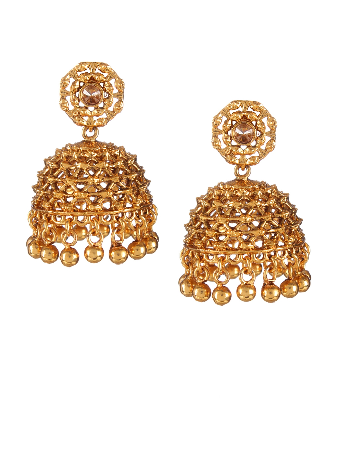 909431797e9e7 Buy Adwitiya Collection Gold Plated Dome Shaped Jhumkas - Earrings ...