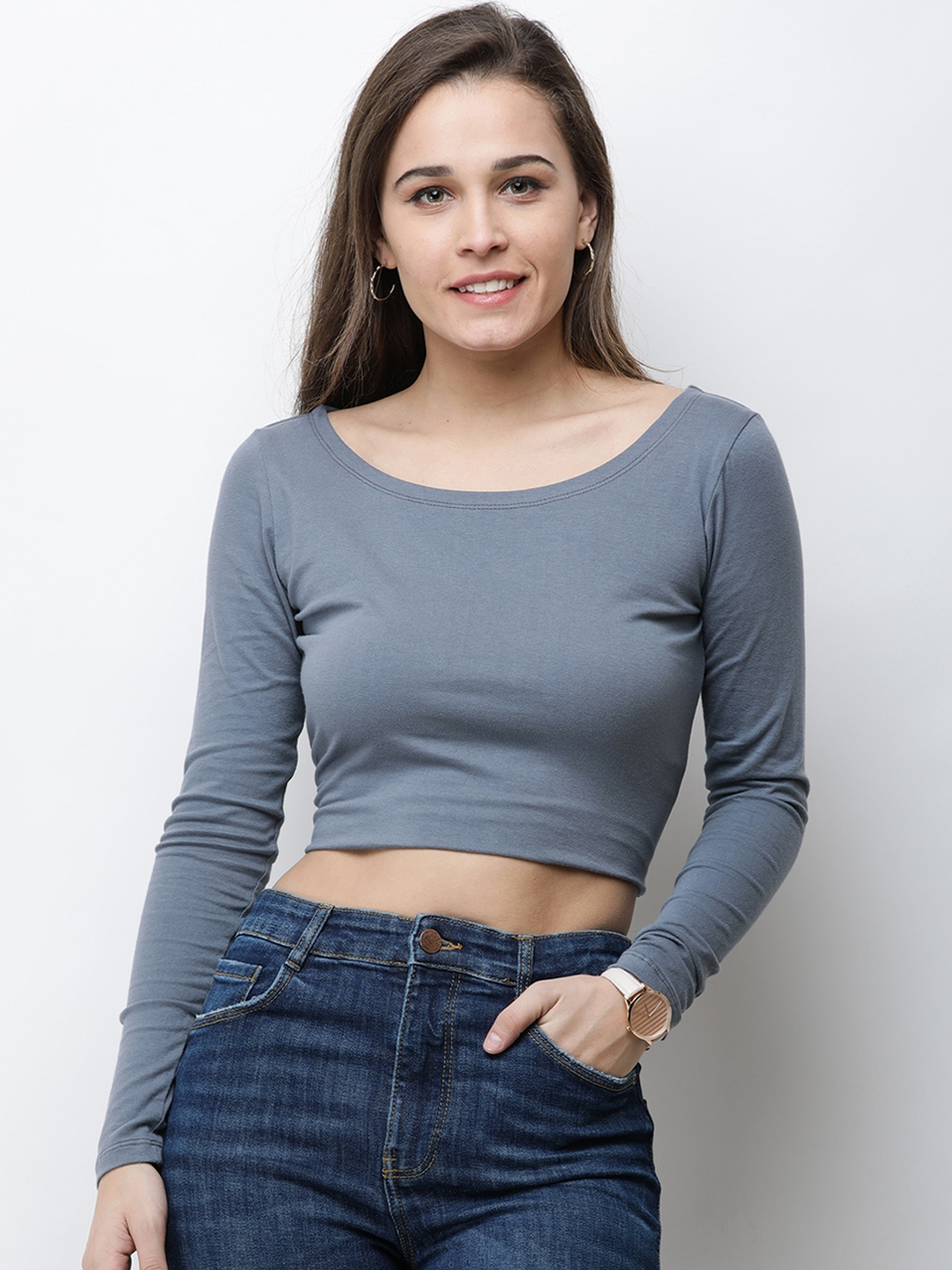 Cation Women Grey Solid Top