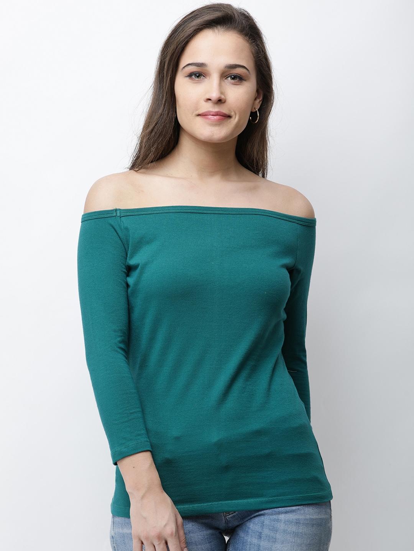 47e9c7f611b86e Buy Cation Women Green Solid Bardot Top - Tops for Women 8178407 ...