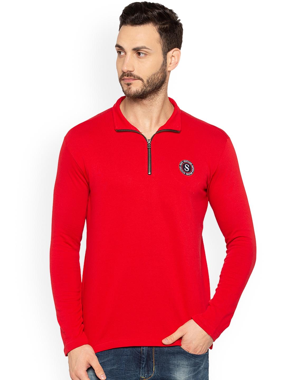 Status Quo Men Red Solid Sweatshirt
