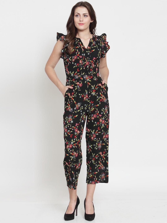 60958886d6 Buy Magnetic Designs Women Black & Red Printed Culotte Jumpsuit ...