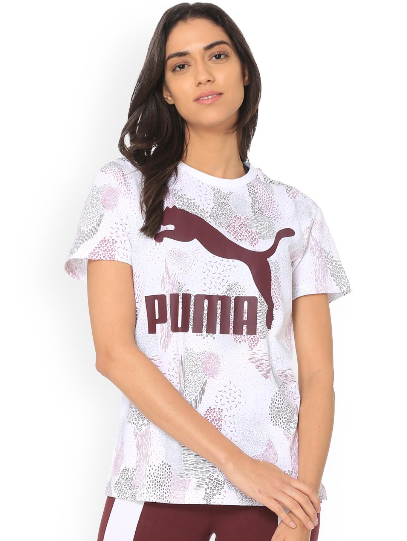9f87da6064bd Buy Puma Women White Printed Round Neck Classics Logo Tee AOP T ...