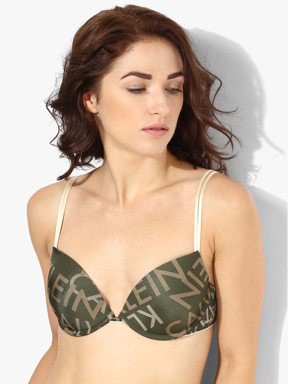 001e48e4ef1f4 Calvin Klein Underwear Olive Green Solid Non-Wired Non Padded Plunge Bra