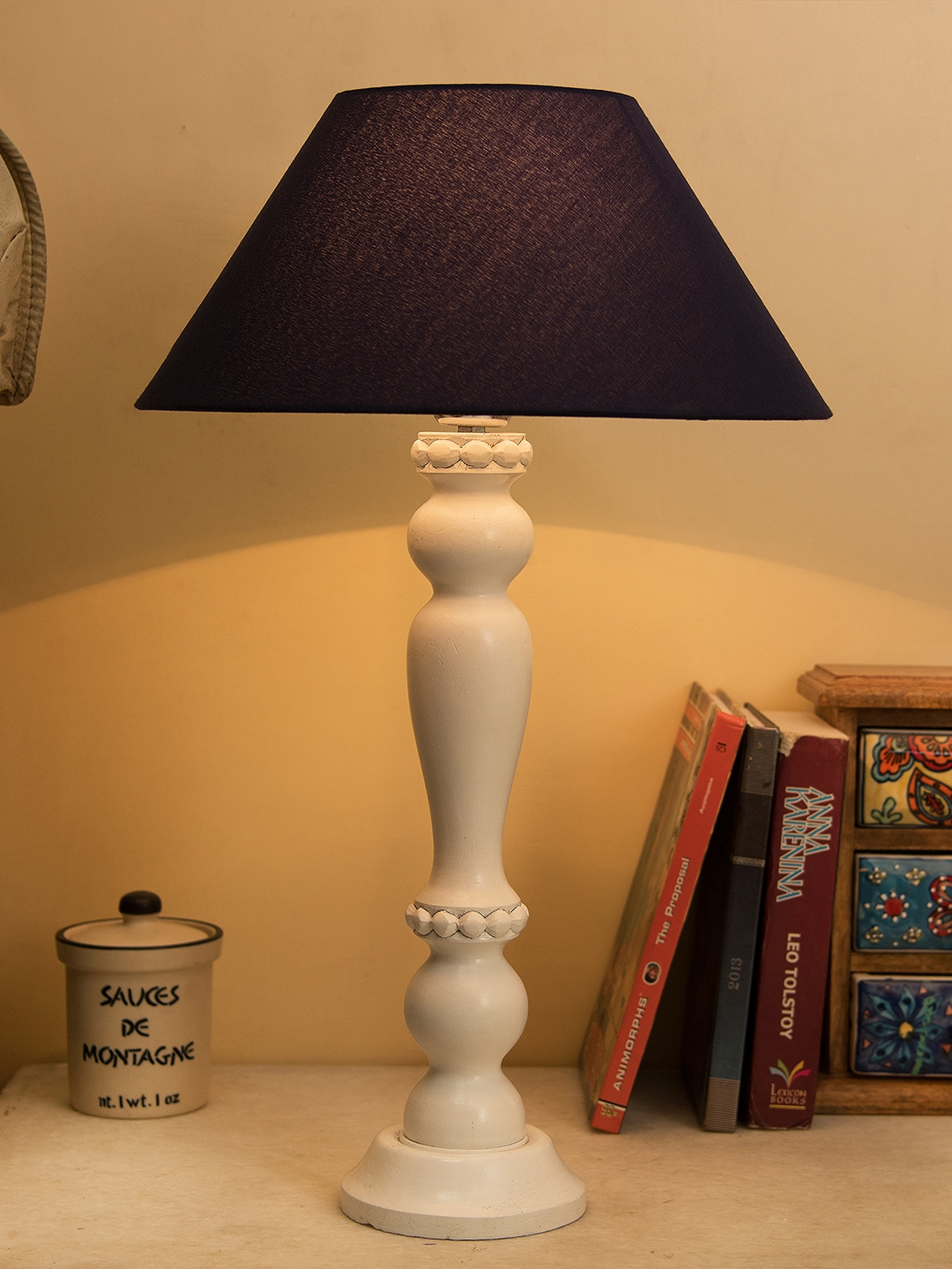 Amazing Buy Homesake White Navy Blue Solid Handcrafted Table Lamp Interior Design Ideas Inesswwsoteloinfo