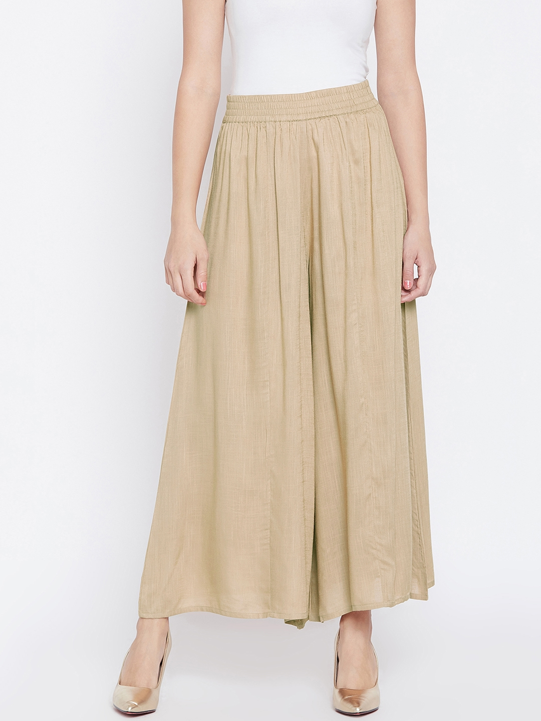 PANIT Women Beige Relaxed Flared Solid Parallel Trousers
