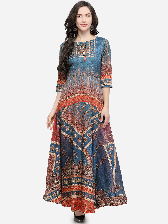d16f343489 Buy Stylee LIFESTYLE Women Blue & Orange Printed A Line Kurti ...
