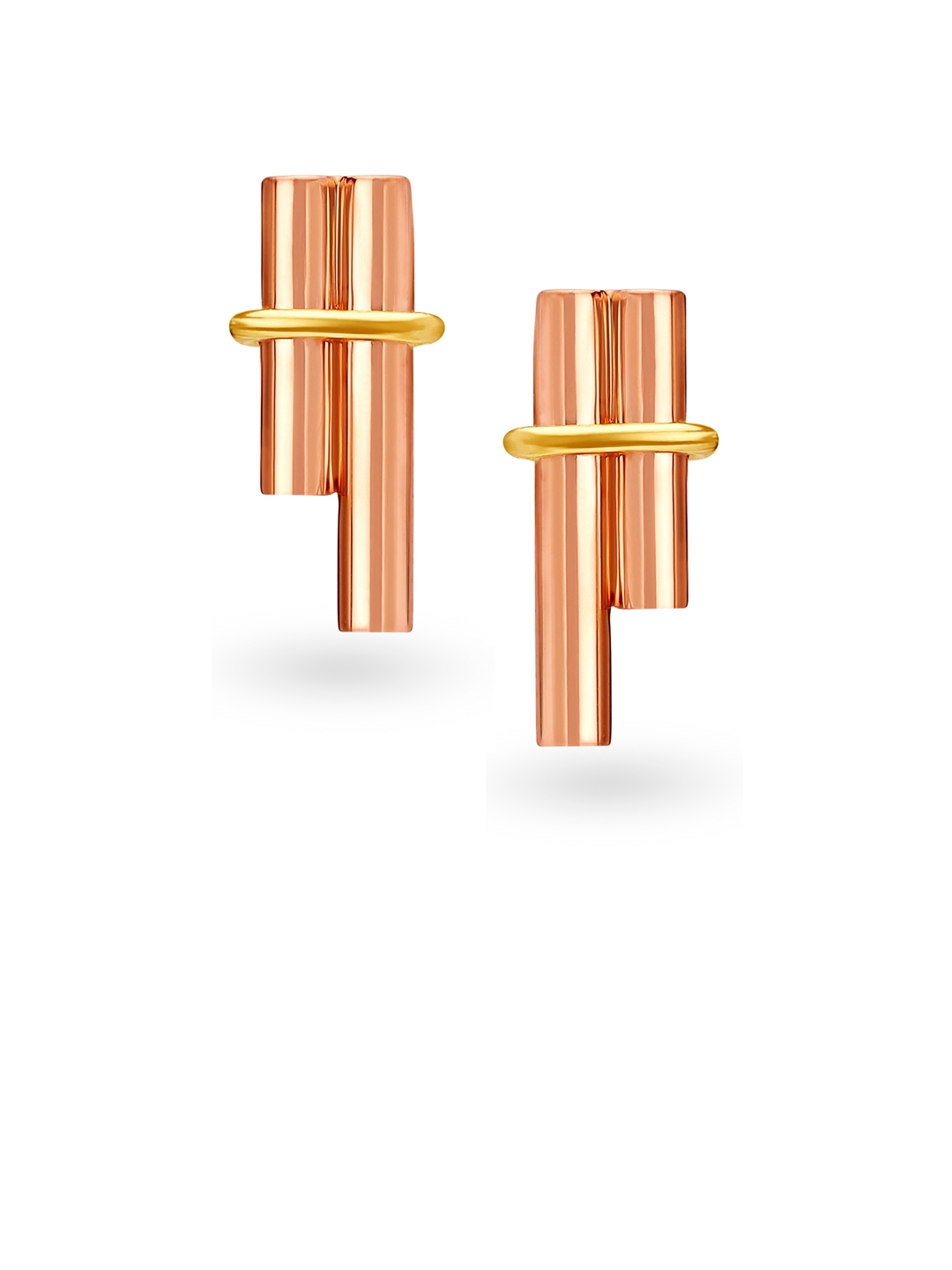 Mia by Tanishq 14KT Yellow   Rose Gold Stud Earrings