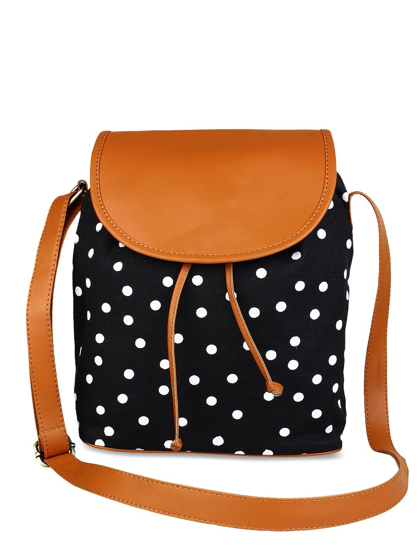 Lychee bags Black Printed Sling Bag