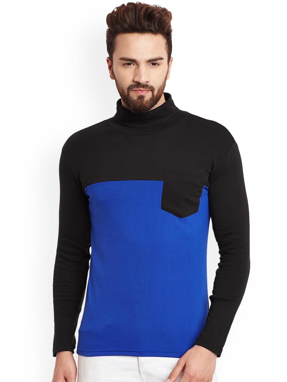 Hypernation Men Black Colourblocked Turtle Neck T shirt
